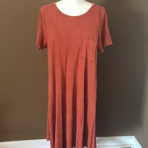 Lularoe Carley Rust Hi-Lo Dress EUC